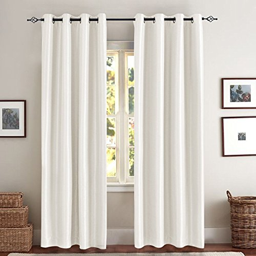 - White Blackout Curtains for Living Room Anti-bacteria Luxury Faux Silk Blackout Window Curtains for Bedroom Dupioni Room Darkening Window Curtain Set (One Pair, 63