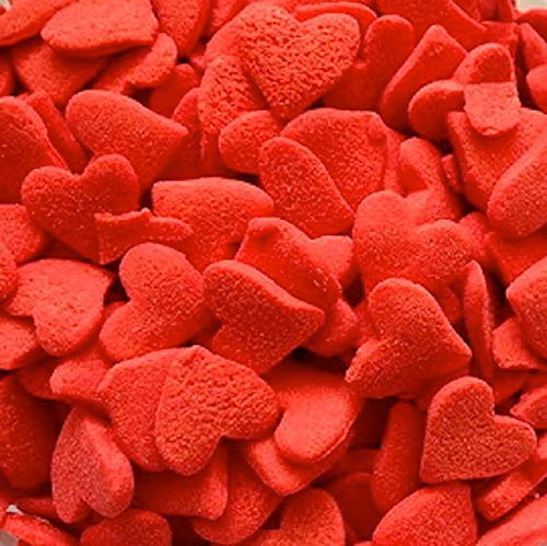 Jumbo Red Valentines Edible Hearts Sprinkles - 2.4 ounces - CK Products -