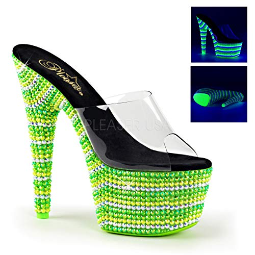 Slide Bejeweled (Pleaser Women's Bejeweled 701UV Slide Sandals, Green Synthetic, 9 M)