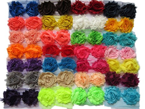 YYCRAFT (56 Pieces) Solids Shabby Flowers Trim Fabric Rose - Chiffon Fabric Roses - 2.5