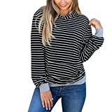 Vovotrade Womens Striped Hoodie Sweatshirt Hooded Pullover Tops Blouse (S, Black)