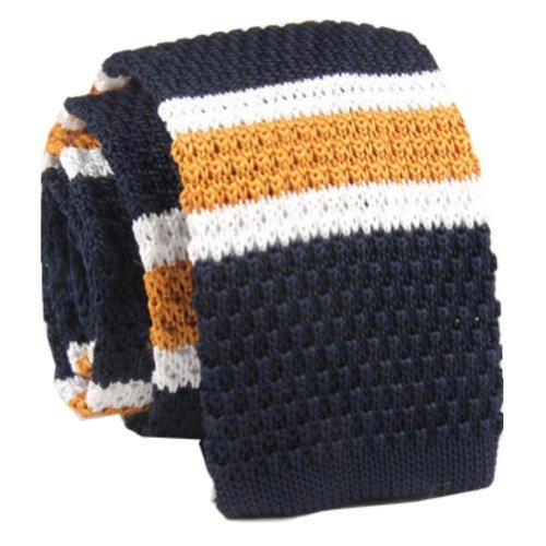 D.berite Navy Blue White Striped Men's Skinny Jacquard Knit Knitted Tie Necktie
