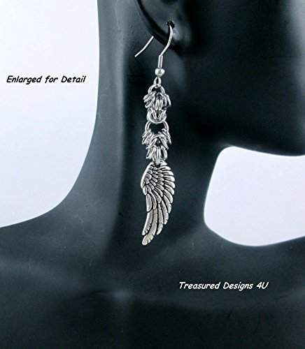(Angel Wings Silver Dangle Earrings, Handmade Women's Stainless Steel or Sterling Silver Jewelry Lacey Style Chain Mail Religious)