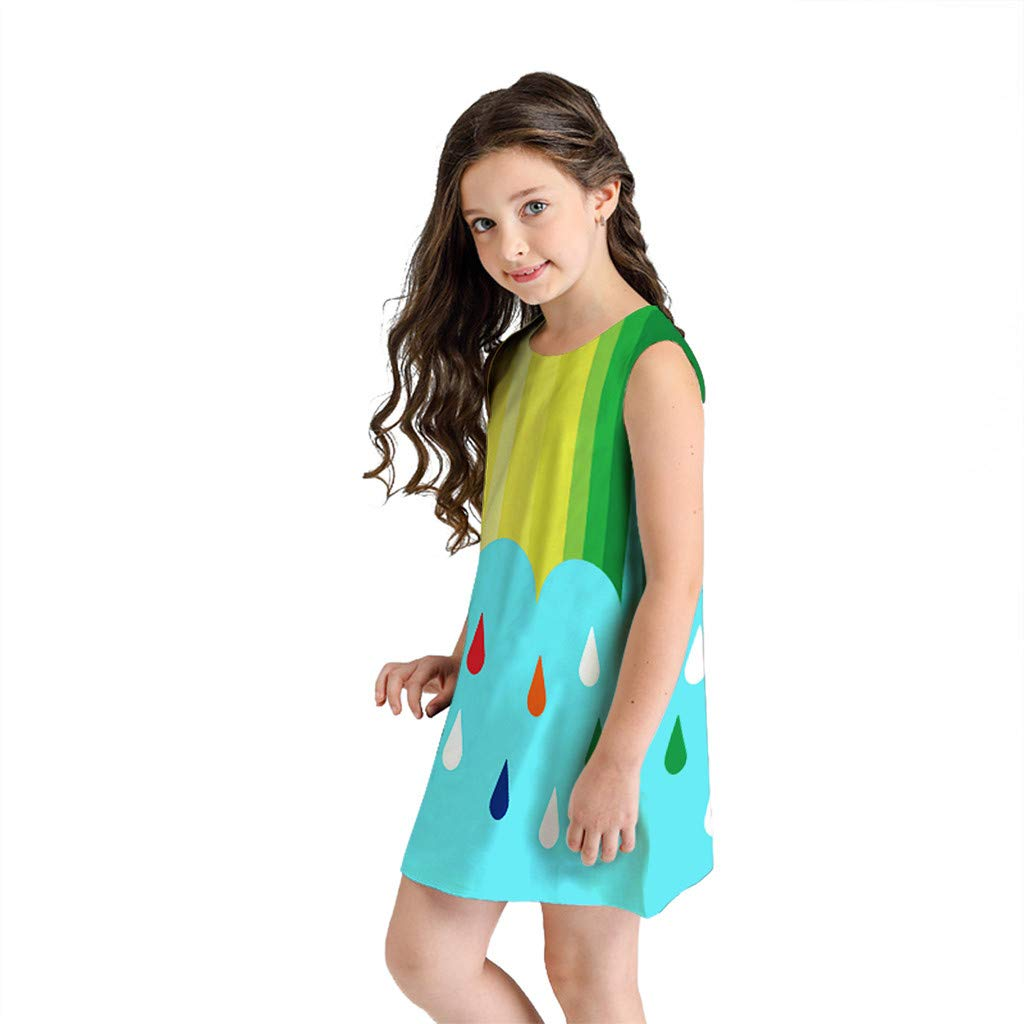 NUWFOR Teen Toddler Kid Girl Summer Sleeveless 3D Print Cartoon Dresses Casual Clothes(Multicolor,8-9 Years)