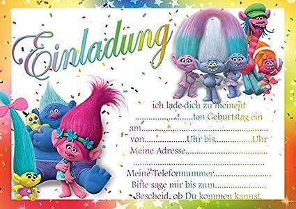 10 invitaciones para cumpleaños infantiles Trolls, color mit ...