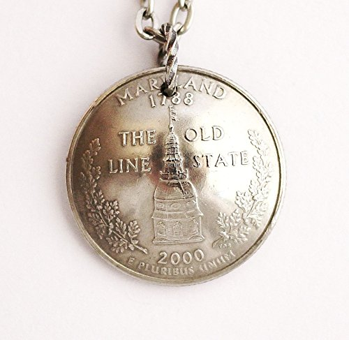 Maryland Domed Coin Necklace State Quarter Pendant 2000