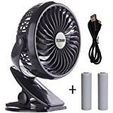 BLUBOON Clip on Fan Battery Operated Fan Portable for Baby Stroller 5' (Black with Two Battery)