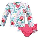 Hudson Baby Unisex Swim Rashguard Set, Tropical Floral, 5 Toddler
