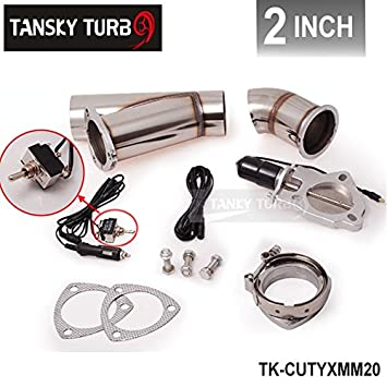 """STAINLESS UNIVERSAL EXHAUST CUTOUT-OUT VALVE E-CUT KIT REMOTE 2/"""" 51mm"""