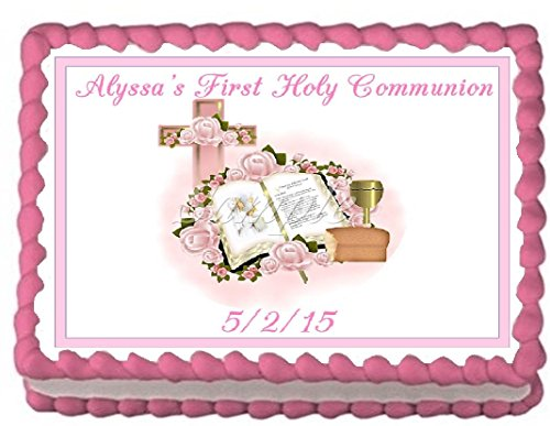 First Holy Communion Pink Edible Frosting Sheet Cake Topper - 1/4 Sheet