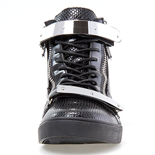 Jump J75 Uomo Zion Round Toe Cinturino In Strass Lace-up High-top Sneaker Serpente Nero