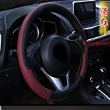 """38cm 15"""" Breathable Anti-slip Embossing Leather Car Steering Wheel Covers wine red"""