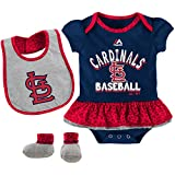 St. Louis Cardinals Baseball Girls 3 Piece Bodysuit Bib Booties Infant Set Onesie Size 3-6 Months Creeper - Team Colors