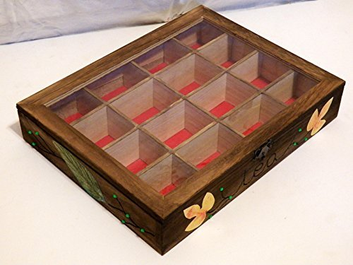 Personalizada Caja de Té, Caja de Almacenamiento de Té, Caja de Té de Madera, Caja de Té por Encargo, Caja de Infusiones Pintada a Mano: Amazon.es: Handmade