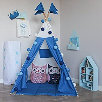 Kids Teepee Tent with 4 Poles and Floor Mat Play Tent Kids Teepee & Kids Teepee Tent with 4 Poles and Floor Mat Play Tent Kids ...