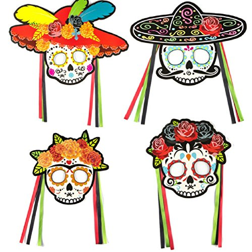 Sugar Skull 4 Pc Mask Set from Chunks of Charm]()