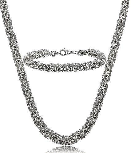 LOYALLOOK 8mm Stainless Steel Round Byzantine Chain Mens Necklace Bracelet Set 24 Inch