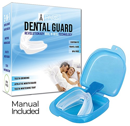 Professional Dental Guard - Stops Teeth Grinding, Bruxism & Eliminates Teeth Clenching, Includes Instructions & Anti-Bacterial Case | Athletic Mouthguard Sports Mouthpiece SATISFACTION GUARANTEED (Mouthpiece Guard)