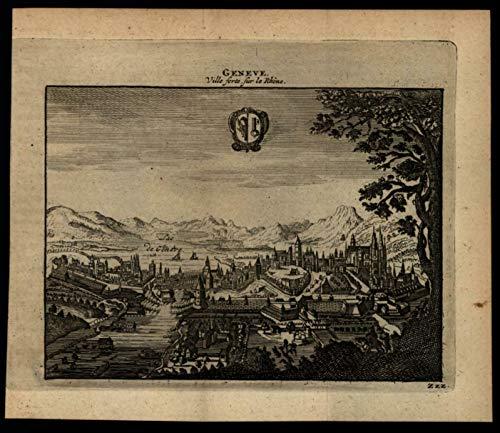 Geneva Switzerland birds-eye city view c.1680-1700 charming miniature ()
