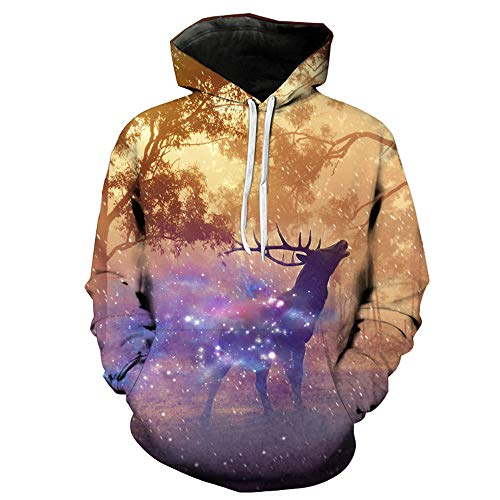 iLXHD Lover's Autumn Winter Christmas Printing Long Sleeve Hoodies ()