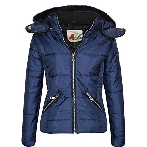 A2Z 4 Kids Girls Jacket Kids Cropped Padded Puffer Bubble Fur Collar Warm Thick Coats 3-13Y ()