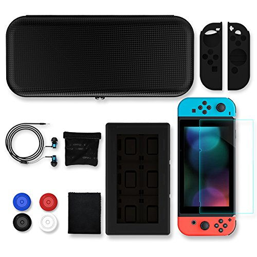 Nintendo Switch Travel Carrying Case, KONKY Hard EVA Storage Case - HD Screen Protector & Joy-Con Grip & Thumb caps & Game Card Case & Earphone for Nintendo Switch Console & Accessories