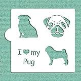 I Love My Pug Cookie and Craft Stencil CM015 by Designer Stencils