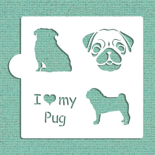 Pug Halloween Stencil (I Love My Pug Cookie and Craft Stencil CM015 by Designer)