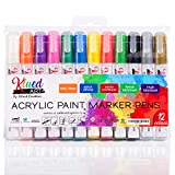 Acrylic Paint Marker Pens, Permanent Paint Pens, Paint on Rock, Glass, Ceramic, Fabric, Stone and Canvas, Medium Round and Chisel Tip, for Kids DIY Art and Craft, Set of 12 Colours by KluedArt