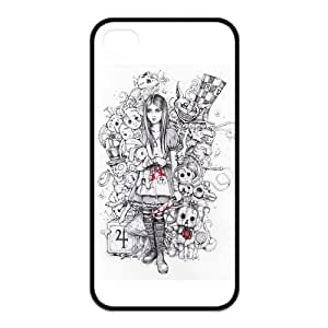 Custom Freehand Cartoon Girl Unique Iphone 4 4S Protective Rubber TPU cover