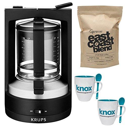 KRUPS KM4689 10-Cup Moka Brewer Filter Coffee Maker w/ Espresso Whole Bean Coffee & Mug w/ Spoon 2-Pack