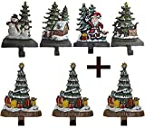 Lulu Decor, 100% cast iron combo deal of 7 Christmas Stocking Holders, Christmas trees with snowman, house, santa and sleigh and trees with presents, solid appearance, each hook weighs 3 lb (CHTG3)