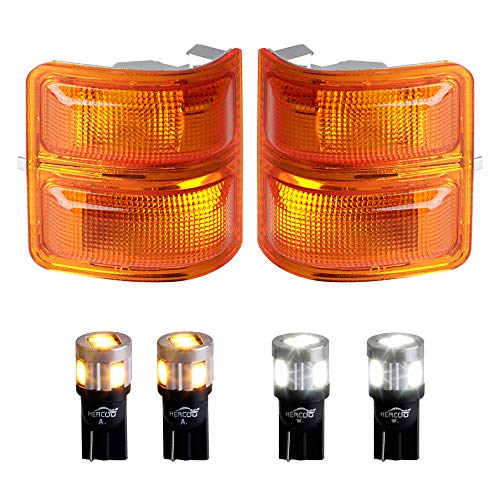 HERCOO Amber Side Mirror Marker Lights Lens w/LED Compatible with 2008-2016 Ford F250 F350 F450 Super Duty Turn Signal Aftermarket Replacement, Qty: 2, Amber & White ()