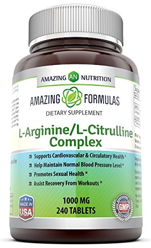 Amazing Nutrition L Arginine/L Citrulline Complex 1000 Mg* Combines Two Amino Acids With Potential Health Benefits * Supports Energy Production * Ads To Improve Athletic Performance (240 Tablets)