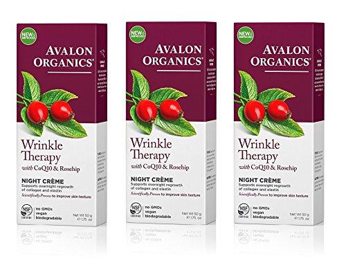 Avalon Organics CoQ10 & Rosehip Wrinkle Defense Night Creme, 1.75 Ounce -- 3 per case (Night Wrinkle Coq10 Cream Defense)
