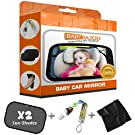 #1 Top Rated Baby Car Mirror | Best Discount Deal | Wide Back Seat Rear View | Free Window SunShades, Pacifier Clip & Cleaning Cloth in a Luxury Box Gift Set | Safety Tested, BabyBazoo®