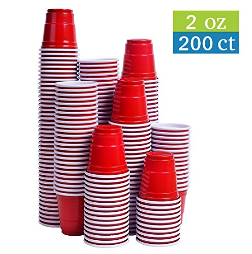Tashibox Disposable Mini Red Shot Glasses - 2 Ounce - 200 Count - Mini Party Cups, Jager Bomb, Jello Shots, Sample Cups. -