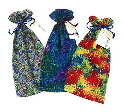 """Dots & Swirlies - Reusable Fabric Drawstring Gift Bag 