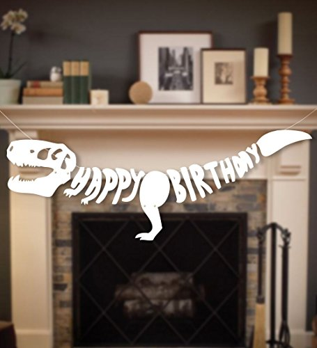 Geefuun Dinosaur Dino Happy Birthday Banner Fossil Jurassic T-REX Garland -- Party Decoration Supplies ()