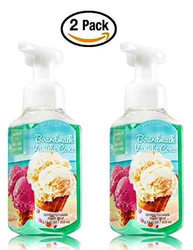 Set of 2 Bath Body Works Boardwalk Vanilla Cone Foaming Hand Soap 2015 Packaging (Bean Foaming Vanilla)