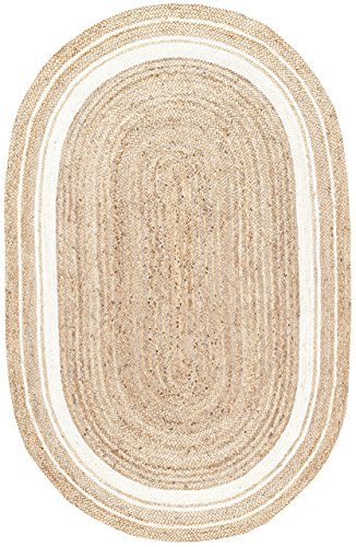 Border Rug Jute (Stone & Beam Contemporary Rikki Border Jute Rug, 5' x 8' Oval, White)