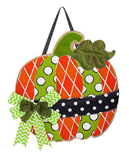 Pumpkin Door - Evergreen Flag Polka Dot Pumpkin Burlap Door Decor