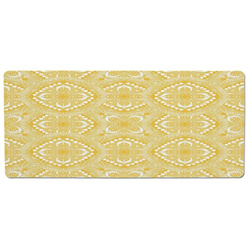 ood and Water,Yellow Mandala,Oriental Doily Napkin Motifs Featured Asian Decorative Elements Curves,Yellow and White,Rectangle Non-Slip Rubber Mat for Dogs and Cats ()