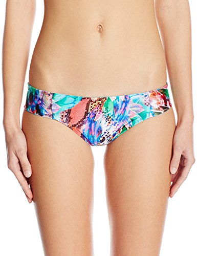 Luli Fama Women's Gorgeous Chaos Side Tab Reversible Full Bikini Bottom, Multi, L
