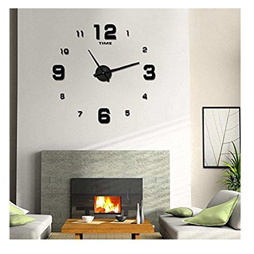 Black Sunburst Roman Dial (Modern Frameless Large 3D DIY Wall Clock Kit Decoration Home for Living Room Bedroom (Black-3))