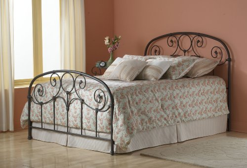 Grafton Complete Bed with Metal Scrollwork Panels and Decorative Castings, Rusty Gold Finish, King