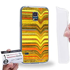 Case88 [Samsung Galaxy S5 Mini] Gel TPU Carcasa/Funda & Tarjeta de garantía - Art Fashion Yellow Melting Stripes Art0797