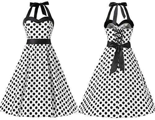 01824a890 DRESSTELLS Vintage 1950s Rockabilly Polka Dots Audrey Dress Retro Cocktail  Dress White Black Dot 2XL by