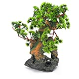 "Penn Plax RR993 7""L x 6""W x 12""H Bonsai Tree on Rock Style 2 Fish Aquarium Ornament"