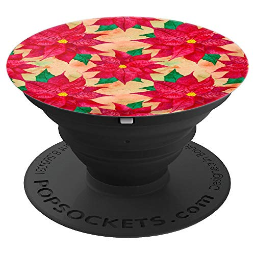 PRETTY CHRISTMAS WINTER POPSOCKETS GRIP - RED POINSETTIA - PopSockets Grip and Stand for Phones and Tablets -